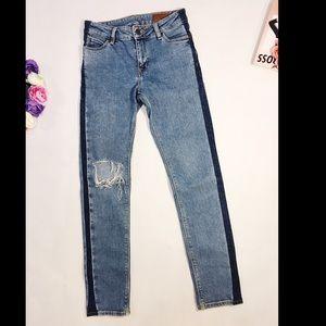 ASOS blue ripped skinny slim jeans side stripeW 28